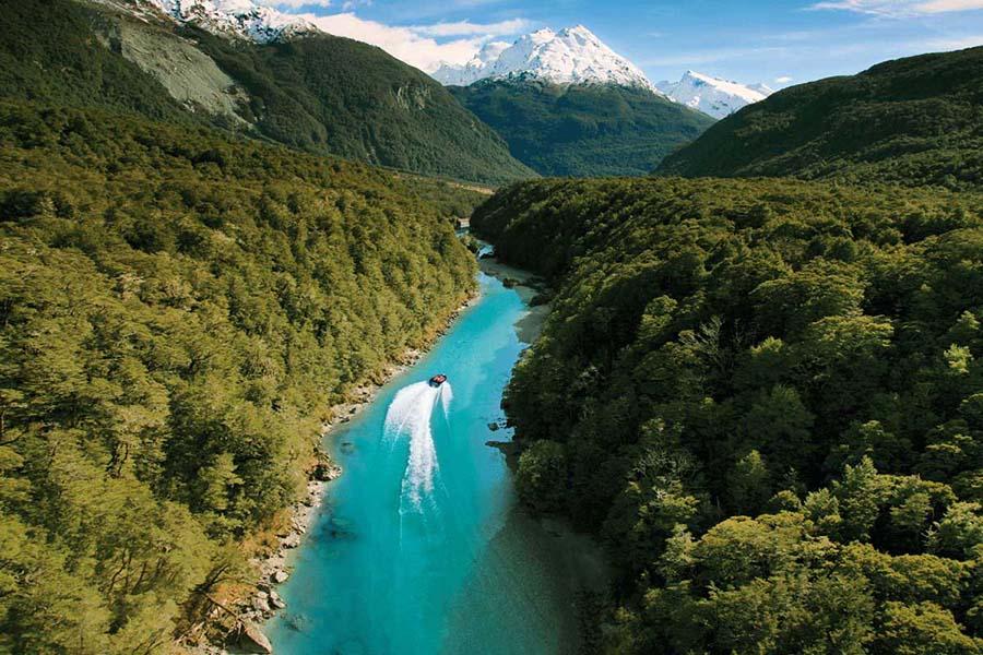 Dart River jet boat Queenstown New Zealand adventure honeymoon