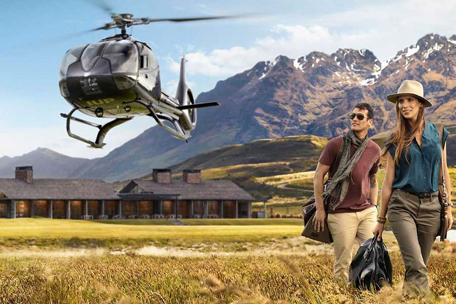 luxury lodges Queenstown luxury accommodation 5 star hotels helicopter tour New Zealand honeymoon ideas